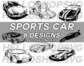 sports car, convertible car, ferrari , lamborghini, super car svg, racing car, silhouette, eps, dxf, png, stencil, vinyl, cut file