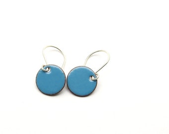 Small Blue Dangle Earrings with Sterling Silver Earwires - Enamel Jewelry for Everyday Wear - Gift for Girlfriend / Candies