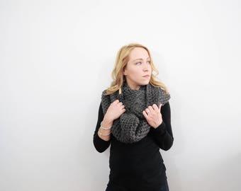 Crochet Infinity Scarf. Womens Eternity Scarf. Gray Scarf. Oversized Circle Scarf. Knit Infinity Scarf. Wool Scarf. Chunky Crochet Scarf.