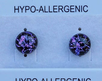 3 Pairs fused dichroic glass studs hypo-allergenic