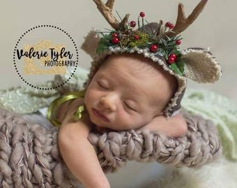 Newborn photo prop deer antler hat christmas deer season. Newborn Photography