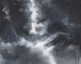 2:365 Day 1 'Black Sky' Original Framed Oil Painting