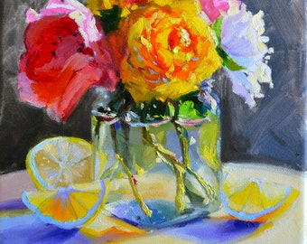 ART print of GARDEN FLOWERS,  floral still life, flowers in mason jar, pink and blue, gift for mom