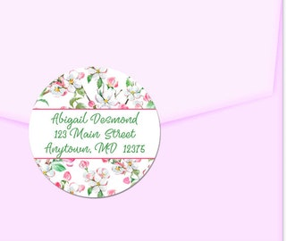 Personalized Address Labels / Pink and Green Flowers / Floral Pattern / Return Address Label / Envelope Seals / Wedding Labels / Thank You