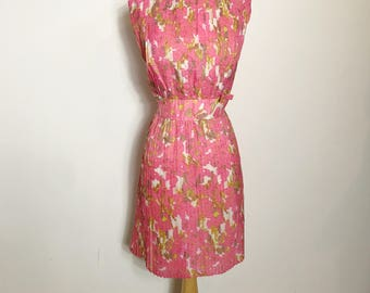 REDUCED Fabulous 1960s Pleat Bright Pink Floral Dress with Bows