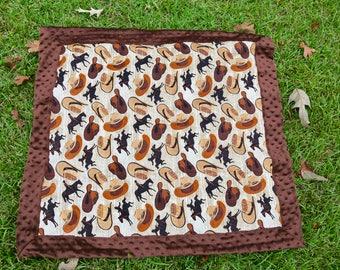 Brown Western Baby Minky Blanket
