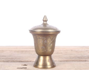 "Vintage Brass Urn / 4.75"" Small Brass Urn / Small Brass Vase with Top / India Brass Etched Urn / Brass Gold Home Decor Gift"
