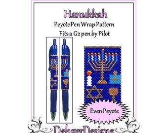 Peyote Beading Pattern (Pen Wrap/Cover)-Hanukkah