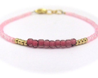Pink Friendship Bracelet, Seed Bead Bracelet, Petite Tiny Bracelet, Miss Ceces Jewels Hawaiian Jewelry, Rose Pink Wedding Bridesmaid