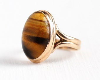 Sale - Tiger's Eye Ring - 1900s Antique Edwardian 10k Rose Gold Size 3 3/4 - Vintage Victorian Brown Oval Chatoyant Gem Cabochon Jewelry