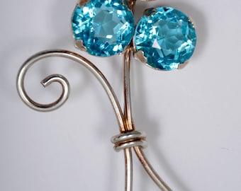 Vintage Flower Brooch, gold wash over marked Sterling, Aqua Marine Stones