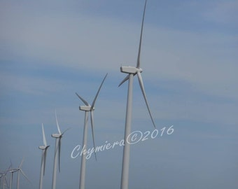 Windmills. Photography Giclée Print.  Art Photography.  Blue Sky White Blades Energy Contrast. Still Life Photography