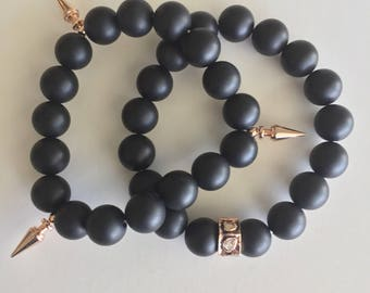 Matte Onyx & Rose Gold Accent Beaded Bracelets