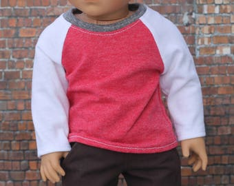 Baseball Tee - Looser Fit Heather Red with White Long Sleeve Raglan BASEBALL TEE for 18 Inch Boy Doll