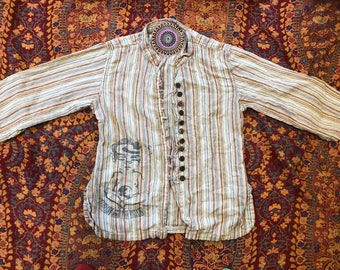 Women-s  Up-Cycled Button-Up Shirt