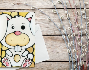 Bunny Greeting Card - Baby Shower Card, Kids Greeting Card, Easter Card - Holiday Card - Birthday Card - Blank Inside - Thank You Card