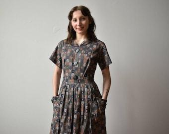 1940s Cotton Dress / Vintage Abstract Print Shirt Dress / 1940s Cotton Day Dress / Vintage 1940s Shirt Dress / Brown and Purple Dress