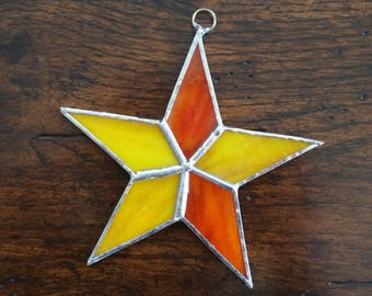 Star Ornament yellow and Orange Stained Glass Sun Catcher Christmas