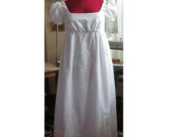 jane austen  regency dress empire line  in embroidered ivory cotton lawn