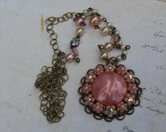 Vintage Pink Flower Necklace