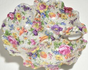 Antique Vintage Beautiful Czechoslovakia Victoria Flowers Gold Gilt Porcelain Dish/Plate/Bowl with Handle