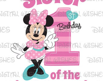 Minnie Mouse 1st Birthday stripes hearts Sister of the Birthday Girl Digital Iron on transfer image clip art INSTANT DOWNLOAD DIY for Shirt