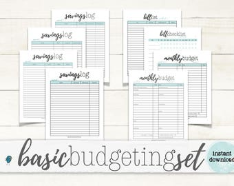 Basic Budgeting Set: Budgeting Planner Worksheets for your Budget Binder/Organizer,  Instant Download!!!