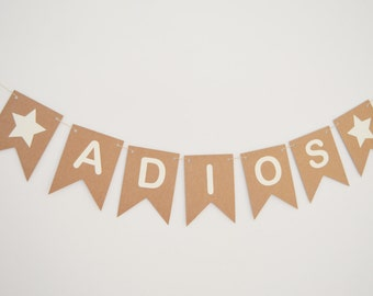 Adios Banner, Good Luck, Farewell Party, Retirement, Leaving Party, Bunting, Goodbye Banner, Custom, Personalised Banner