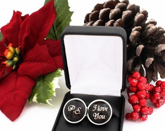 Christmas Gift for Husband, Christmas Gift for Him, Christmas Gift for Boyfriend, Husband Cufflinks, Gift from Wife, Long Distance Gift