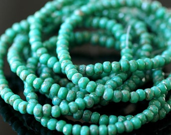 3x2mm  Rondelle Beads - Czech Glass Beads - Jewelry Making Supplies - Turquoise Picasso Beads  (50 Bead strand)