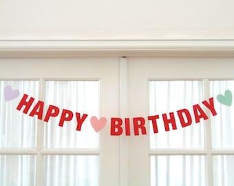 February Birthday.  Happy Birthday.  Valentine's Day Birthday.  Valentine's Banner.  Birthday Decoration.  Banner.  Garland.  5280 Bliss.