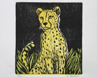 Cheetah in Grass - Original Woodblock Print by Lora Shelley