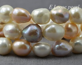 Baroque pearl Large Hole Freshwater Pearl Potato Loose Pearl Mixed Color 11.5-12.5mm 30pcs Full Strand PL3088
