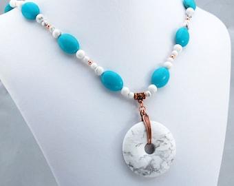 Turquoise White Howlite Copper Handmade Designer Pendant Necklace