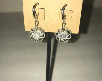 Handmade dangle earrings Silver and clear crystal
