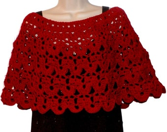 Crochet Poncho, Womens Shawl, Womens Poncho, Red Poncho, Red Shawl, Shoulder Warmer, Red Capelet, Valentines Day Shawl, Gift for Her