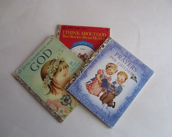 Little Golden Books Set of Three Religious Themed Prayers for Children Commemorative, Prayers For Children, God, and I Think About God