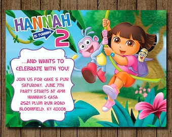 Dora the Explorer Birthday Invitation, Dora Invitation, Dora Invite, Girl Birthday Party, Dora Party, 1st 2nd 3rd Printable Digital File 5x7