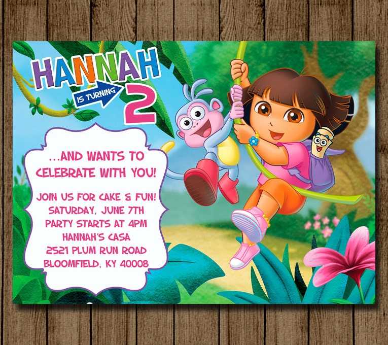 Awesome dora the explorer birthday invitations model invitation dora birthday invitations images coloring pages adult filmwisefo