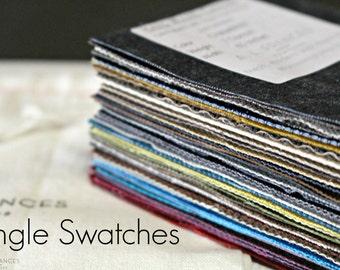 Single Hand Waxed Fabric Swatches - Waxed Canvas, Waxed Denim, Waxed Linen