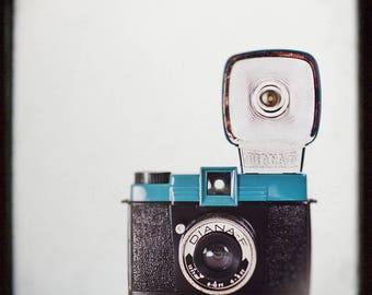 Photograph of Camera, Vintage Diana F, Teal Blue,  Wall Art Print  retro inspired, wall decor, collectible camera, office decor, camera geek