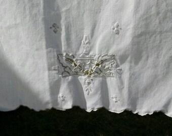 Vintage linen cut work guest towel