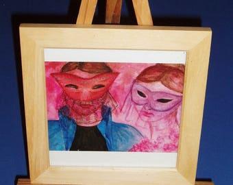 """Mini tableau """"Couple au Carnaval""""  cadre en  bois"""