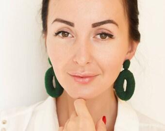 Oval Green Beaded Earrings  Oscar de La Renta Style Women Earrings Stud  Clip On Earrings Beadwork Jewelry Green oscar