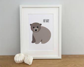 Baby Bear Art Print, Bear Nursery Print, Bear Wall Art, Woodland Nursery Print, Brown Bear Art Print, Bear Print, Nursery Art, Personalised