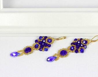 Blue crystal earrings   Golden earrings   Golden seadbeads earrings   Elegant earrings   Teardrop crystal earrings   Beaded earrings