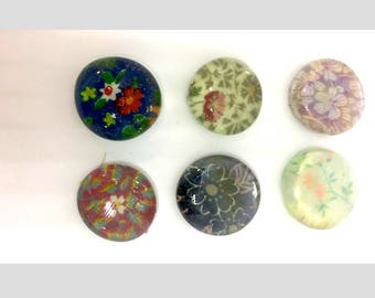 Glass Flat Clear Dome Marble Magnets Vintage Tiny Flower Fabric, Pretty Refrigerator Magnets,