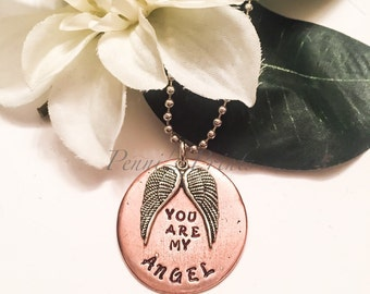 You are my angel necklace with Tibetan Silver angel wings , angel wings, valentine gift, gift for wife or girlfriend