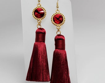Silk Thread Tassel Earrings with Swarovski Crystal