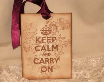 custom Listing for Olivia Vintage Inspired Keep Calm and Carry On Gift Tags Wish Tree Tags ECS